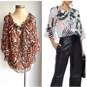 Milly 100% Silk Printed Blouse 12 Large